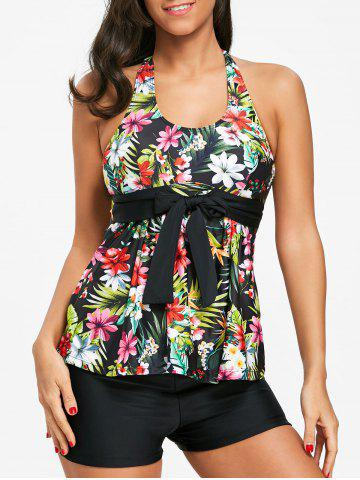 Chic Tropical Floral Bowknot Embellished Tankini Set