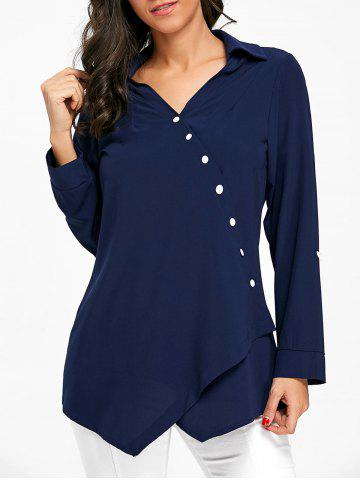 Hot Button Up Crossover Asymmetric Blouse