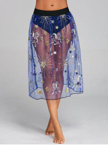 Chic Embroidered Mesh Sheer Cover Up Skirt