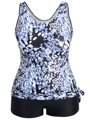 Unique Ellipse Print Plus Size Tankini