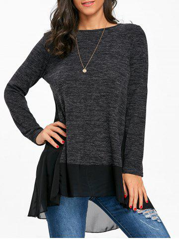 Hot Chiffon Trimmed Heather Long Sleeve Top