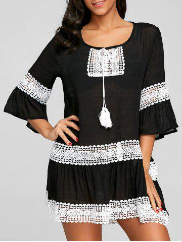Buy Crochet Trimmed Flare Sleeve Cover Up Dress