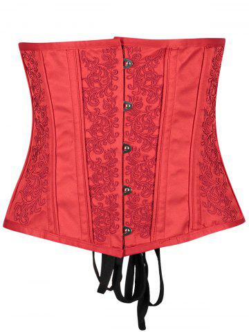 Unique Leaf Jacquard Buckle Up Underbust Corset