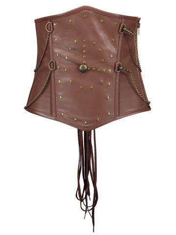Shop Rivets Chain Embellished Steam Punk Underbust Corset