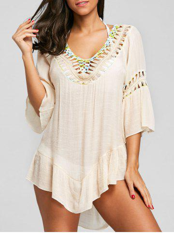 Flounce Crochet Trim Fringed Cover Up