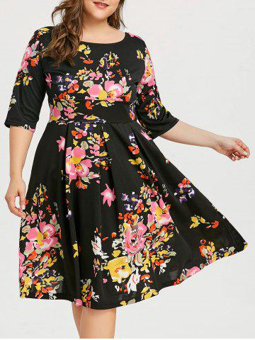 Best Flower Plus Size Vintage Skater Dress
