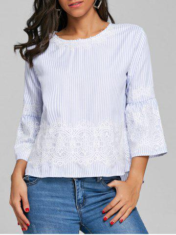 Buy Stripe High Low Cut Out Blouse