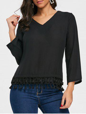 Shop Tassels V Neck Chiffon Blouse