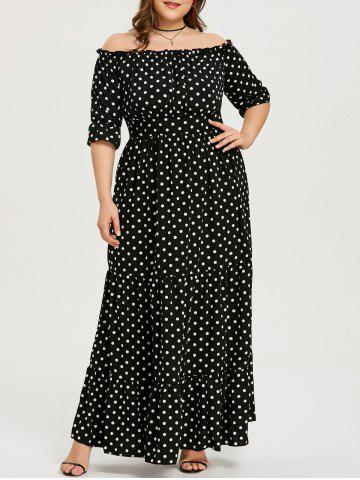 Hot Dot Print Plus Size Ankle Length Dress