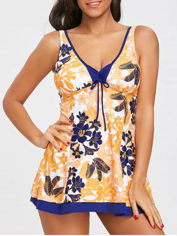 Hot Empire Waist Flower Print Skirted Tankini