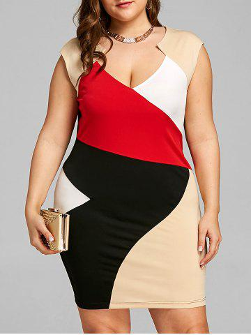 Hot Plus Size Color Block Fitted Dress