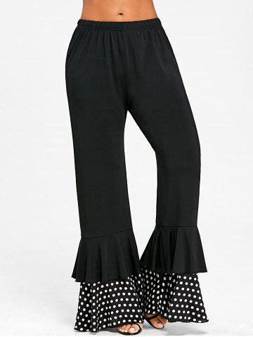 Best Polka Dot Panel Layered Flare Pants