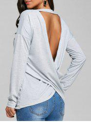 Long Sleeve Cut Out Back T-shirt -