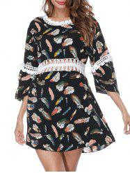 Feather Print Crochet Trim Cover Up Dress -