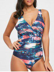 Abstract Print Surplice Backless Swimsuit -
