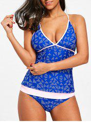 Low Cut Geometric Tankini Set -