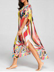 Floral Print Chiffon Cover Up Dress -