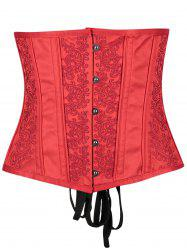 Leaf Jacquard Buckle Up Underbust Corset -