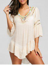 Flounce Crochet Trim Fringed Cover Up -