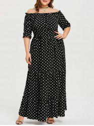Dot Print Plus Size Ankle Length Dress -