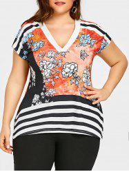 Plus Size Striped V Neck T-shirt -