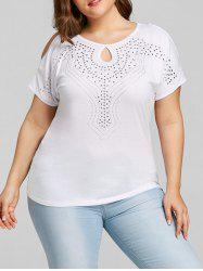 Faux Diamond Plus Size Keyhole Personality T-shirt -