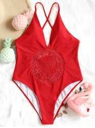 High Cut Crochet Panel Swimsuit -