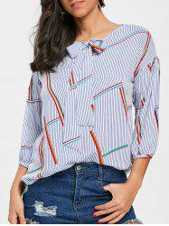 Puff Sleeve Stripe Bow Collar Blouse -