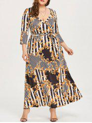 Maxi Surplice Dress with Print -