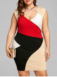 Plus Size Color Block Fitted Dress -