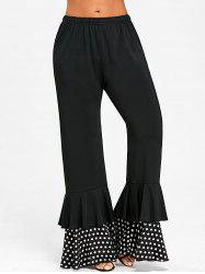 Polka Dot Panel Layered Flare Pants -