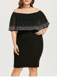 Plus Size Off The Shoulder Sheer Capelet Dress -