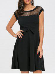 Fishnet Panel Fit and Flare Dress -