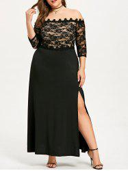 Plus Size Long Lace Slit Party Dress -
