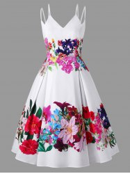 Plus Size Floral Tea Length Swing Dress -