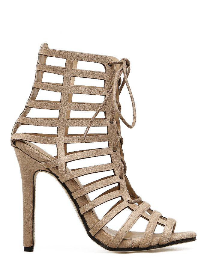 Discount Lace Up High Heel Caged Sandals