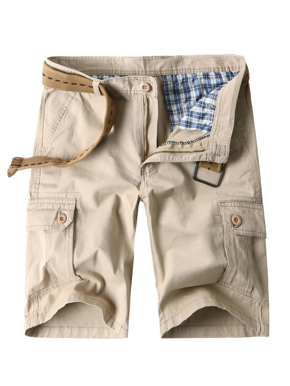 Chic Zip Fly Cargo Shorts with Flap Pockets