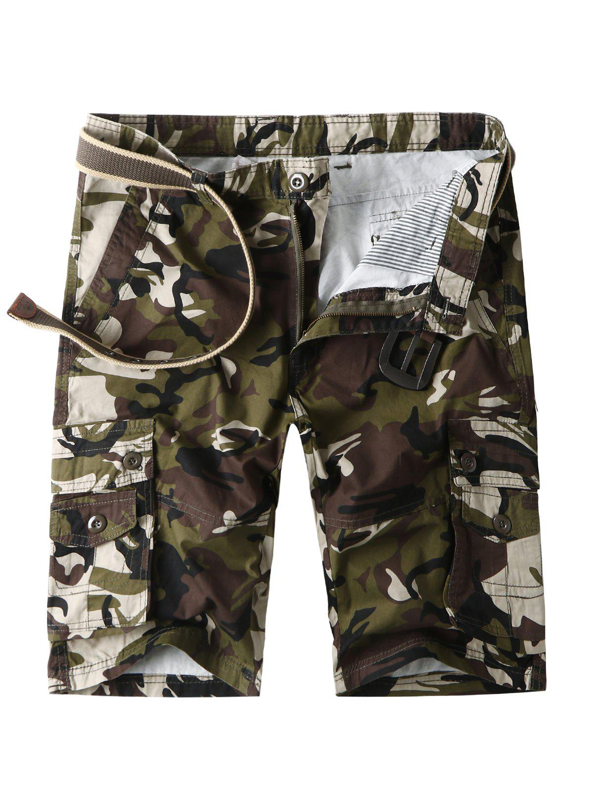 Shop Camouflage Cargo Shorts with Multi Pockets