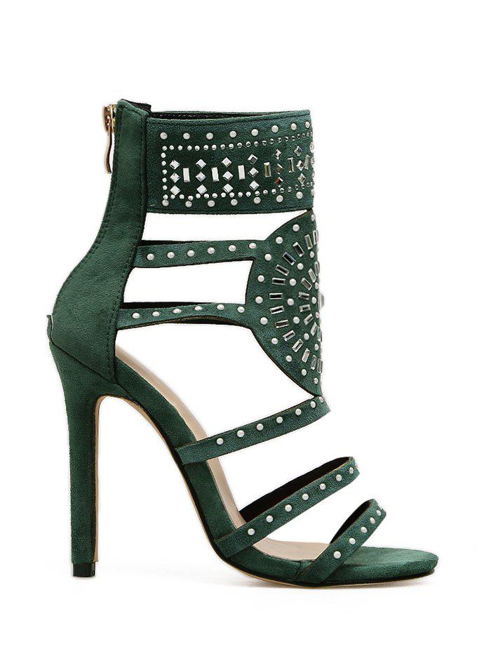 Unique Rhinestone Embellished High Heel Gladiator Sandals
