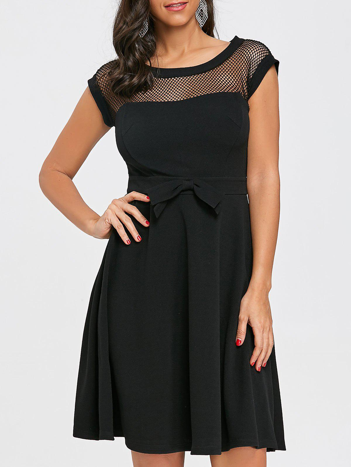 Discount Fishnet Panel Fit and Flare Dress
