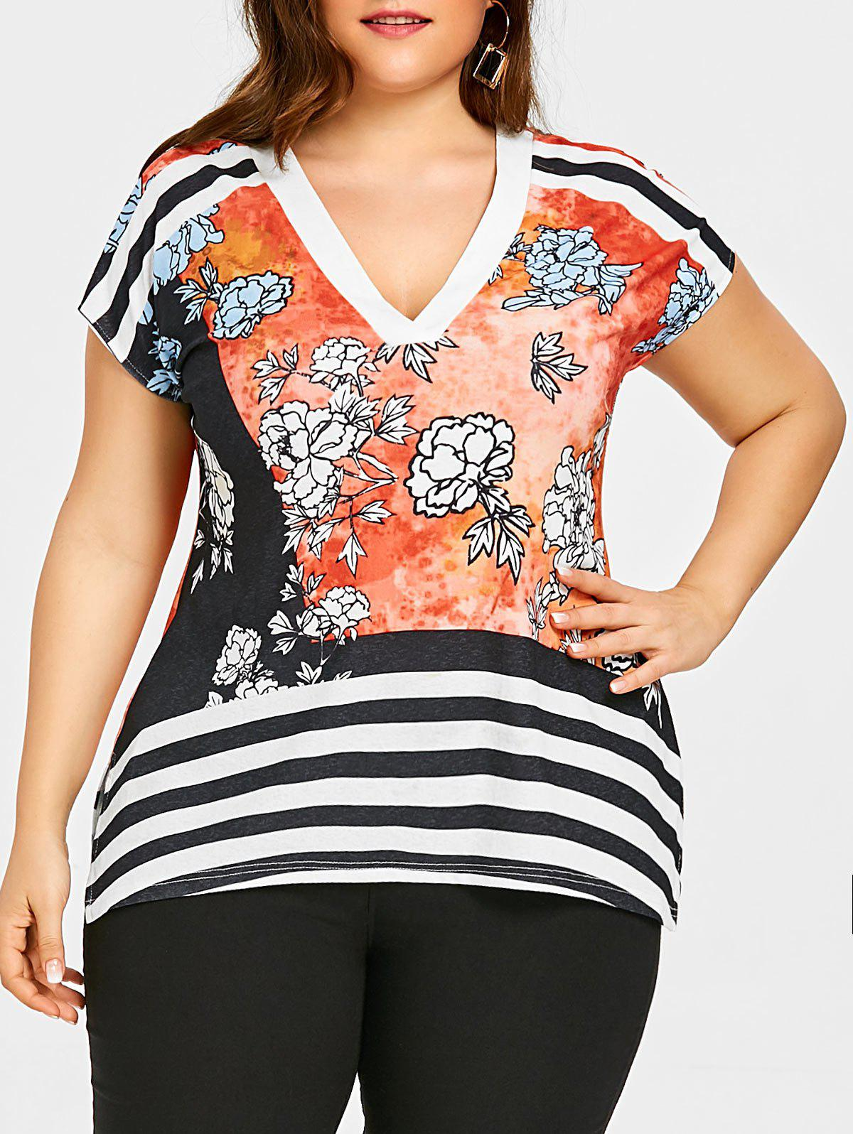 Chic Plus Size Striped V Neck T-shirt