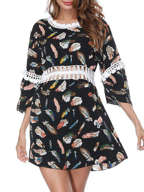 Shops Feather Print Crochet Trim Cover Up Dress