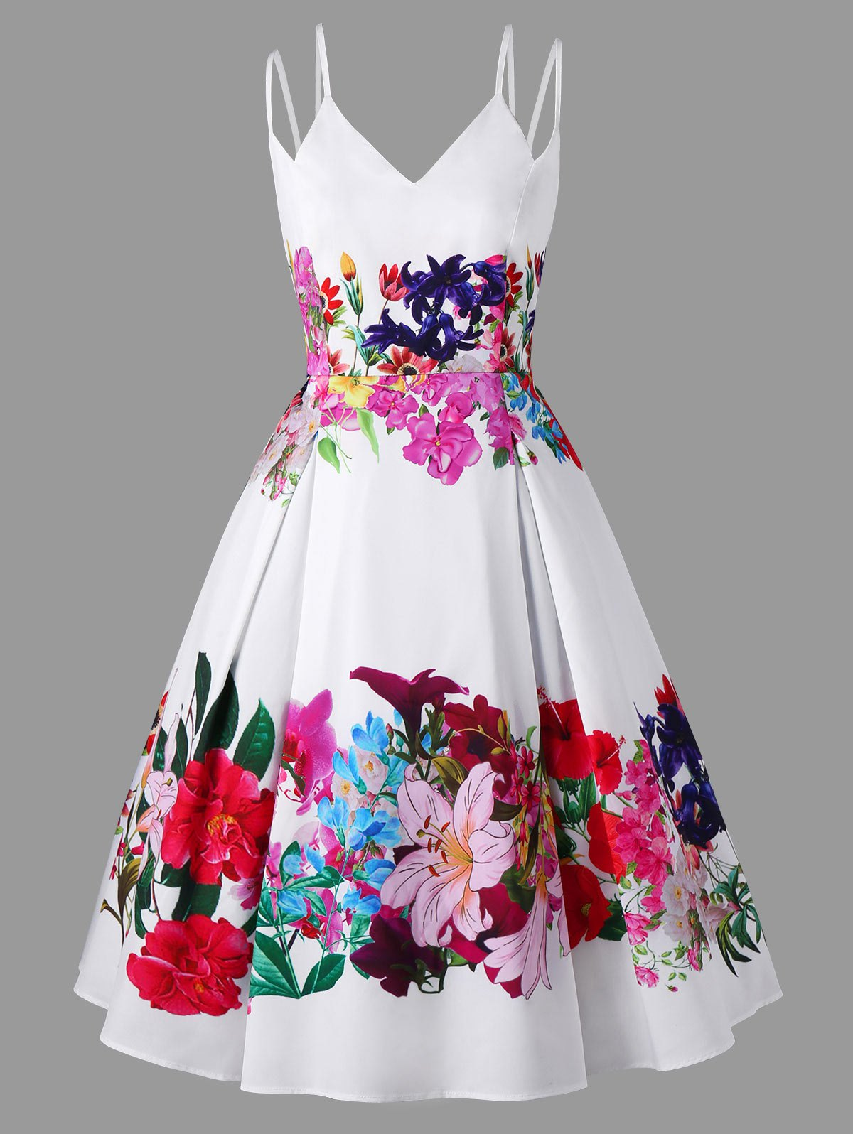Best Plus Size Floral Tea Length Swing Dress