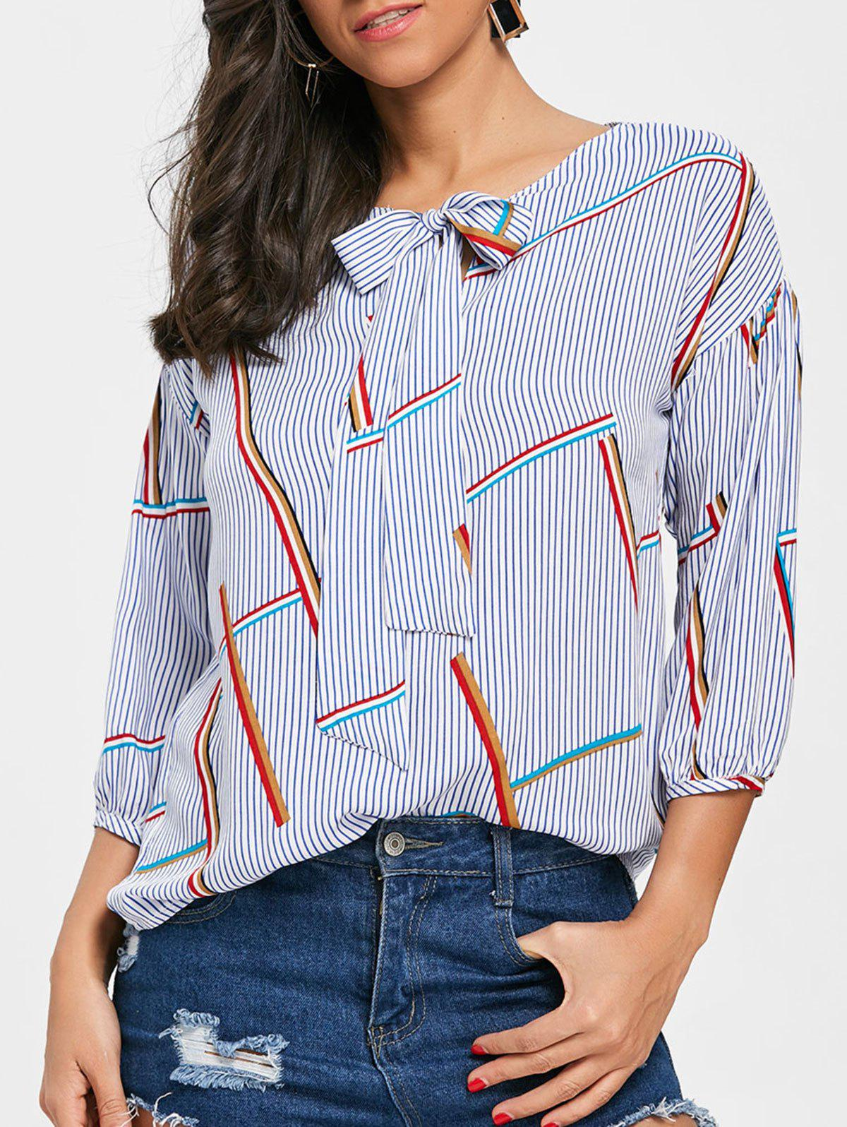 Outfits Puff Sleeve Stripe Bow Collar Blouse