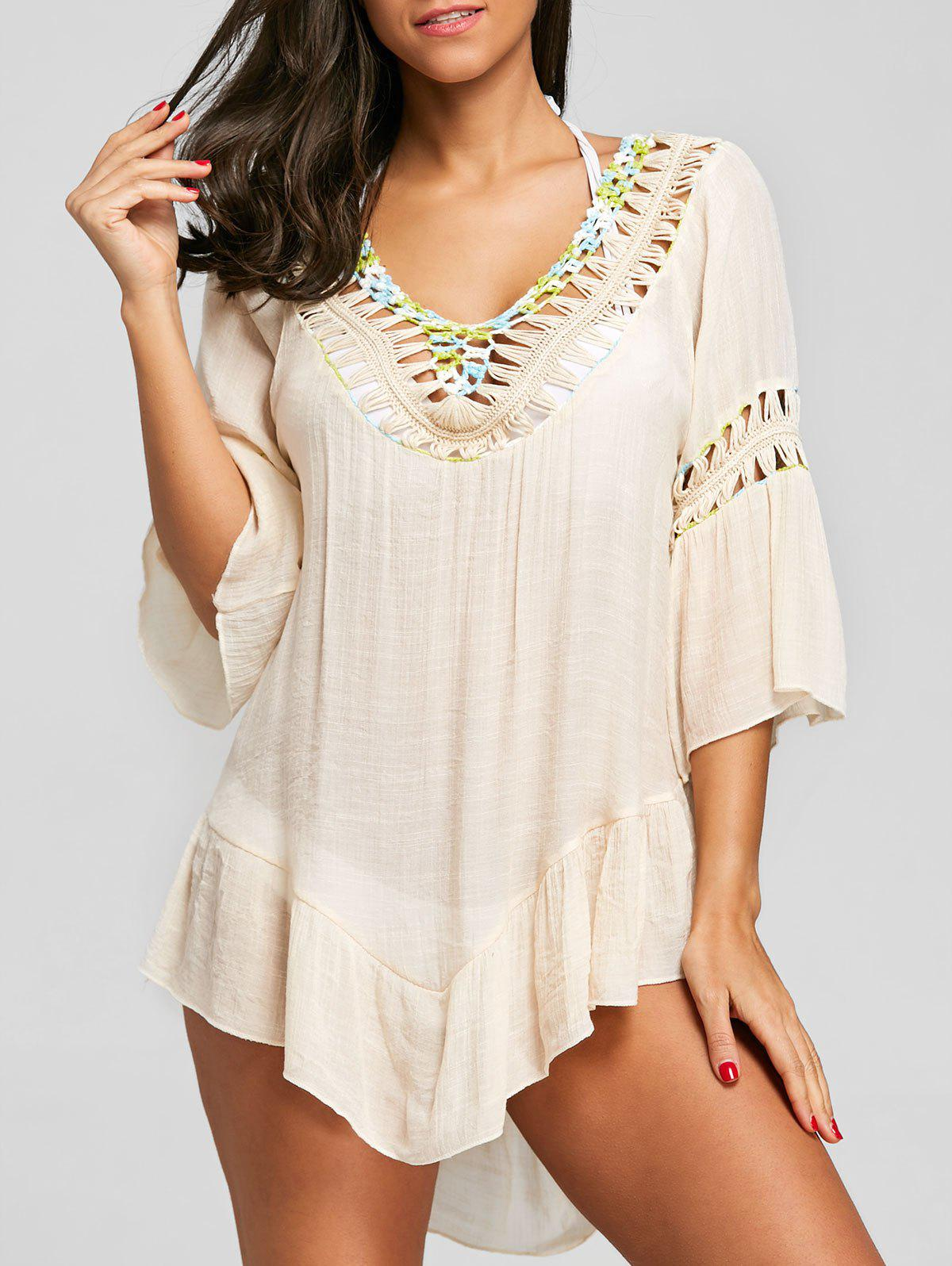 Trendy Flounce Crochet Trim Fringed Cover Up