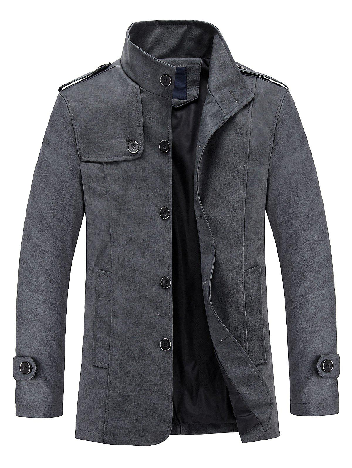 Buy Stand Collar Epaulet Design PU Leather Jacket
