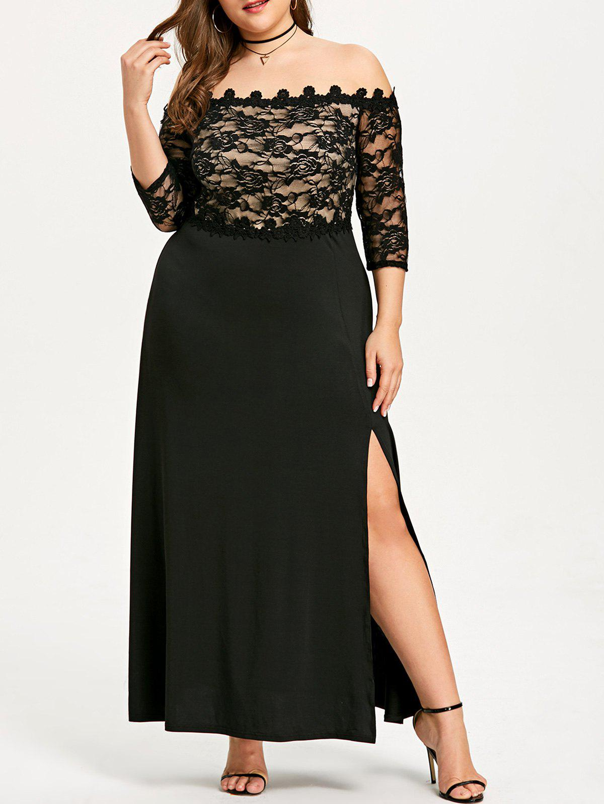Fancy Plus Size Long Lace Slit Party Dress
