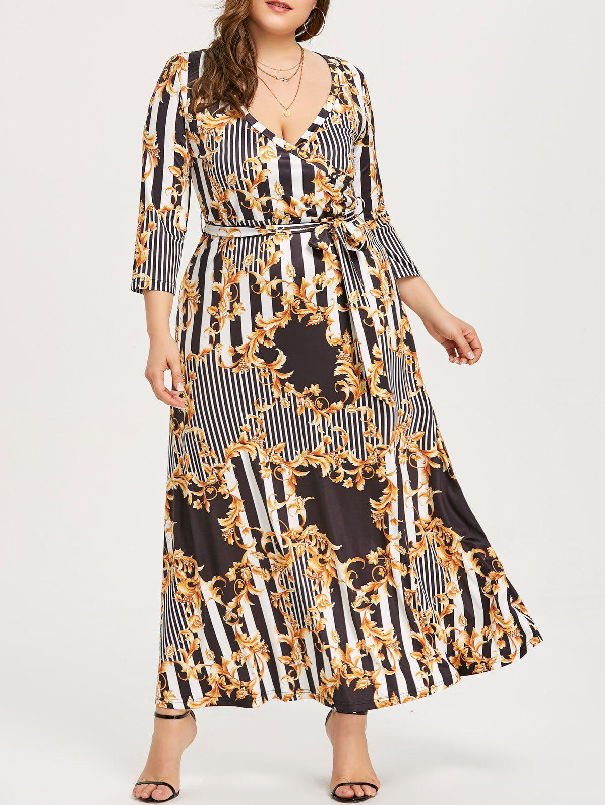Store Maxi Surplice Dress with Print