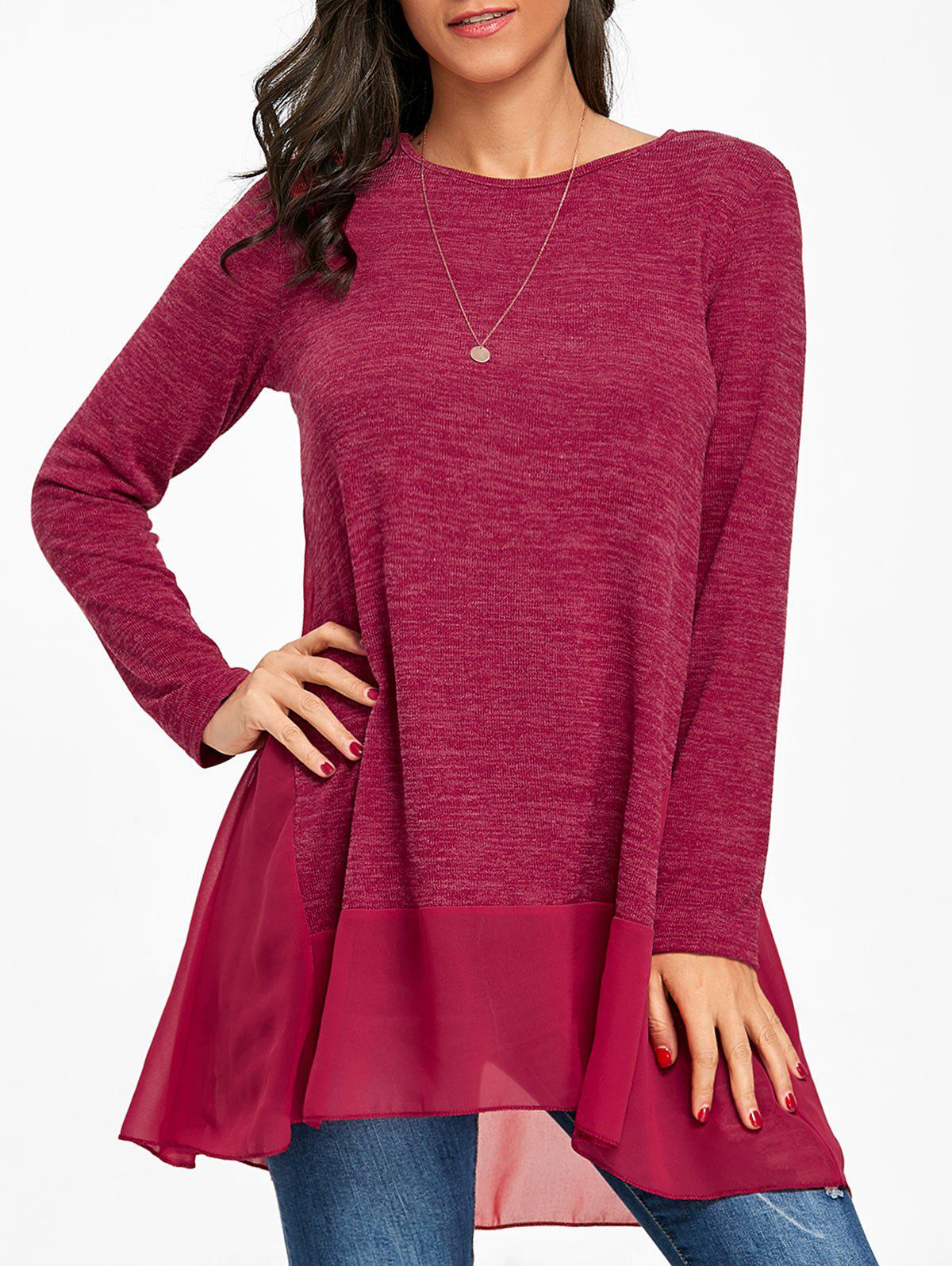 Outfit Chiffon Trimmed Heather Long Sleeve Top