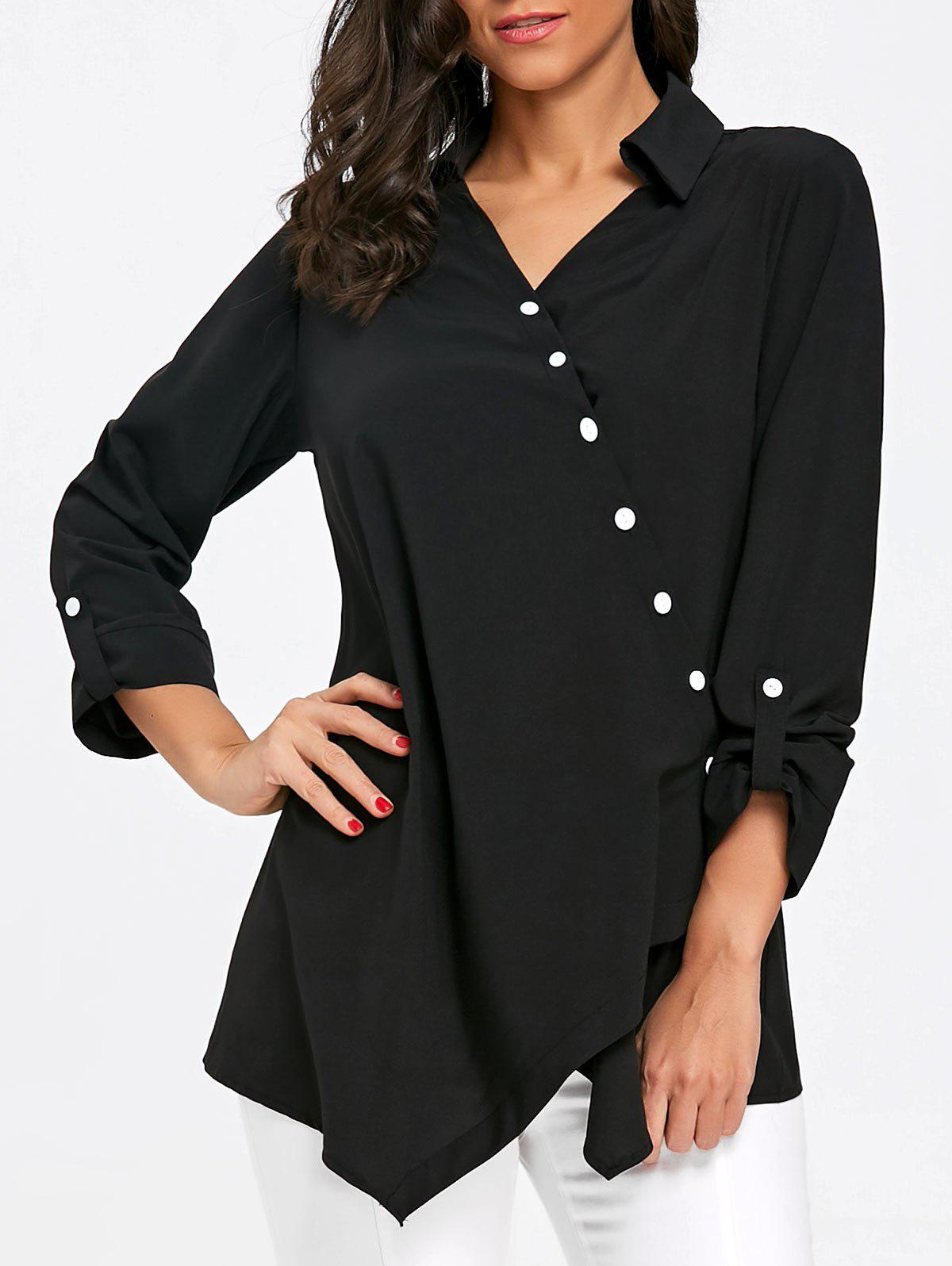 Affordable Button Up Crossover Asymmetric Blouse